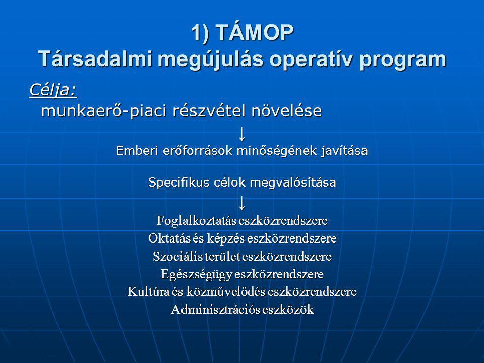 1) TÁMOP Társadalmi megújulás operatív program Célja: munkaerő-piaci részvétel növelése munkaerő-piaci részvétel növelése↓ Emberi erőforrások minőségé