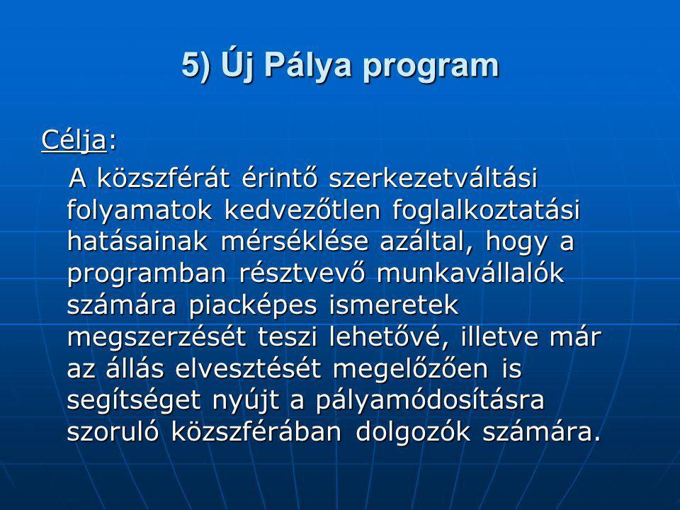 5) Új Pálya program Célja: A közszférát érintő szerkezetváltási folyamatok kedvezőtlen foglalkoztatási hatásainak mérséklése azáltal, hogy a programba
