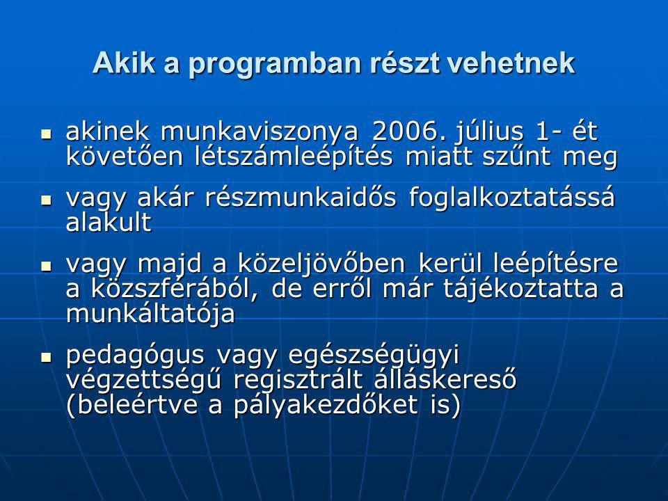 Akik a programban részt vehetnek akinek munkaviszonya 2006. július 1- ét követően létszámleépítés miatt szűnt meg akinek munkaviszonya 2006. július 1-