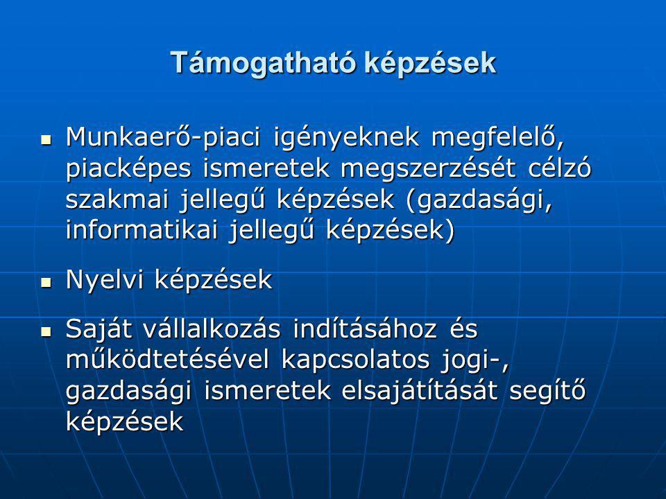 Támogatható képzések Munkaerő-piaci igényeknek megfelelő, piacképes ismeretek megszerzését célzó szakmai jellegű képzések (gazdasági, informatikai jellegű képzések) Munkaerő-piaci igényeknek megfelelő, piacképes ismeretek megszerzését célzó szakmai jellegű képzések (gazdasági, informatikai jellegű képzések) Nyelvi képzések Nyelvi képzések Saját vállalkozás indításához és működtetésével kapcsolatos jogi-, gazdasági ismeretek elsajátítását segítő képzések Saját vállalkozás indításához és működtetésével kapcsolatos jogi-, gazdasági ismeretek elsajátítását segítő képzések