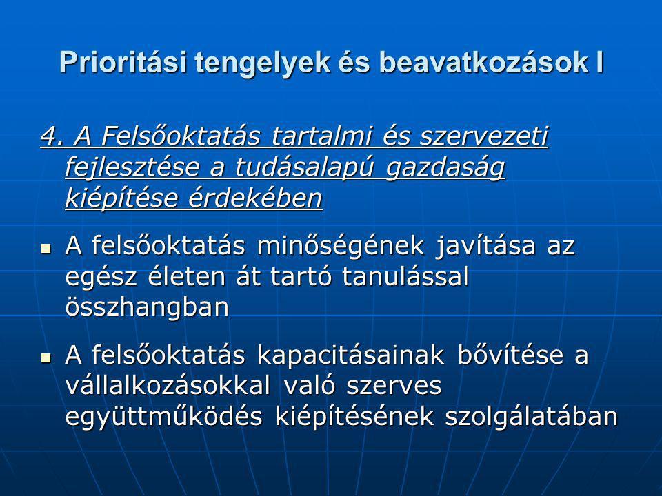 Prioritási tengelyek és beavatkozások I 4.