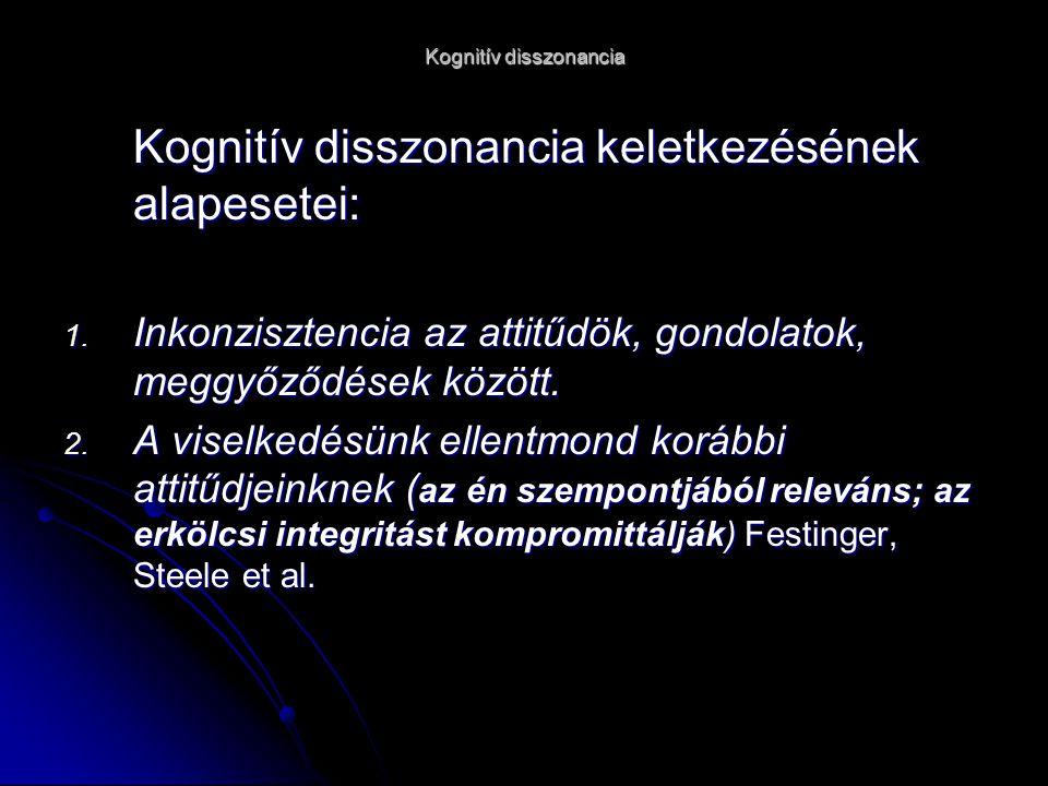 Kognitív disszonancia Kognitív disszonancia keletkezésének alapesetei: 1.