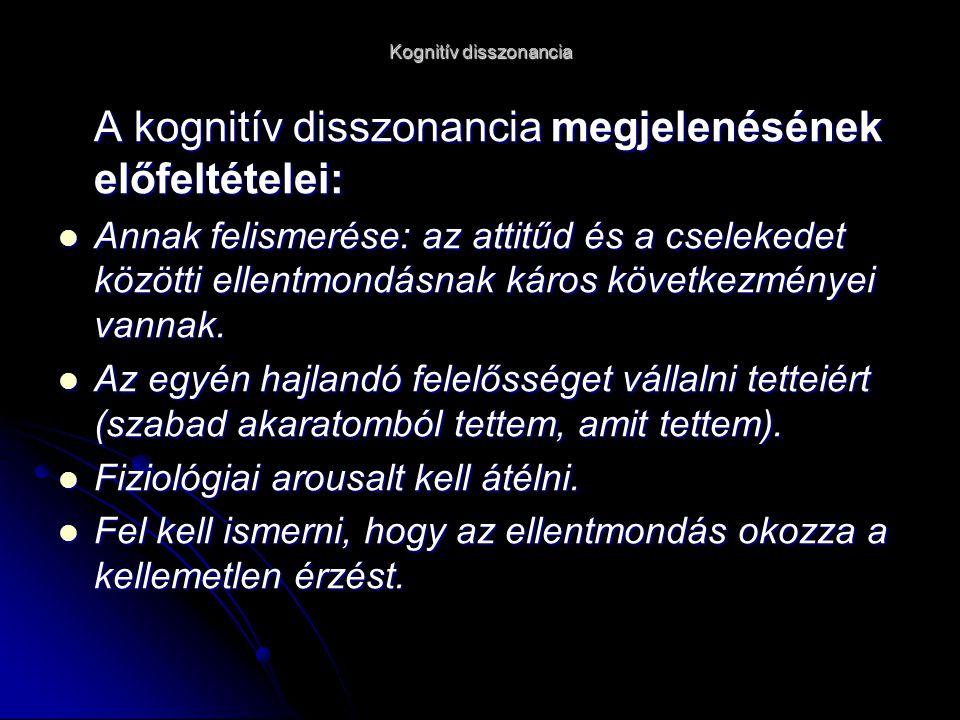 Kognitív disszonancia A kognitív disszonancia megjelenésének előfeltételei: Annak felismerése: az attitűd és a cselekedet közötti ellentmondásnak káros következményei vannak.