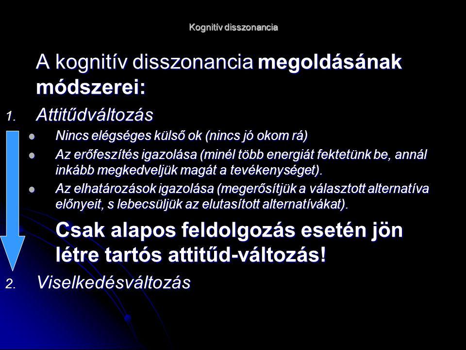 Kognitív disszonancia A kognitív disszonancia megoldásának módszerei: 1.