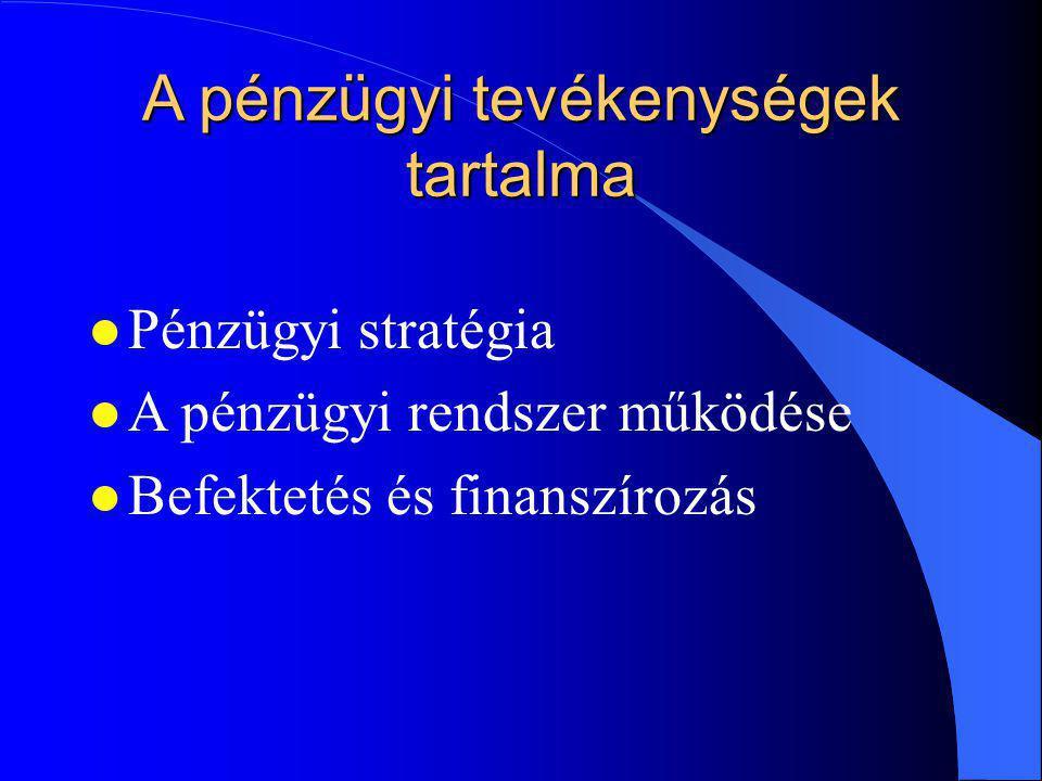 A pénzügyi tevékenységek tartalma lPlPénzügyi stratégia lAlA pénzügyi rendszer működése lBlBefektetés és finanszírozás
