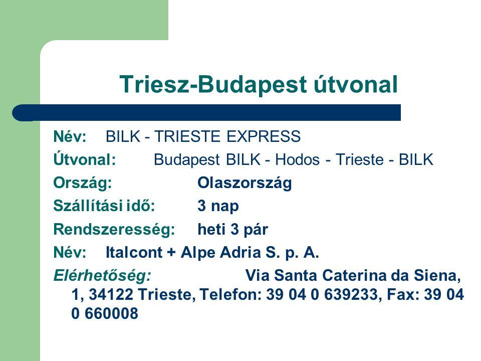 Triesz-Budapest útvonal Név: BILK - TRIESTE EXPRESS Útvonal: Budapest BILK - Hodos - Trieste - BILK Ország:Olaszország Szállítási idő:3 nap Rendszeres