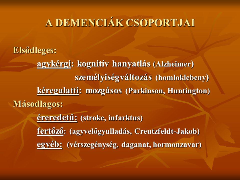 A DEMENCIÁK CSOPORTJAI Elsődleges: agykérgi: kognitív hanyatlás (Alzheimer ) személyiségváltozás (homloklebeny ) személyiségváltozás (homloklebeny ) k