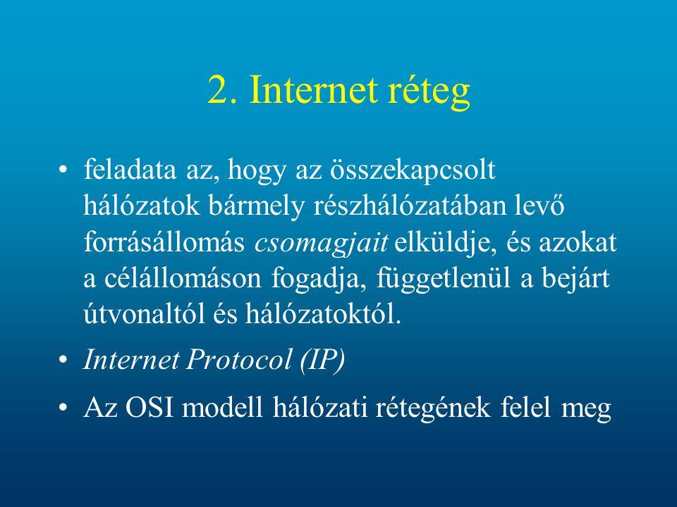 2. Internet réteg feladata az, hogy az összekapcsolt hálózatok bármely részhálózatában levő forrásállomás csomagjait elküldje, és azokat a célállomáso