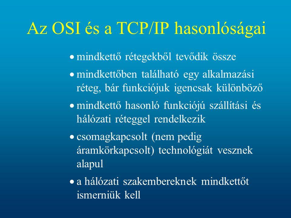 Az OSI és a TCP/IP hasonlóságai  mindkettő rétegekből tevődik össze  mindkettőben található egy alkalmazási réteg, bár funkciójuk igencsak különböző
