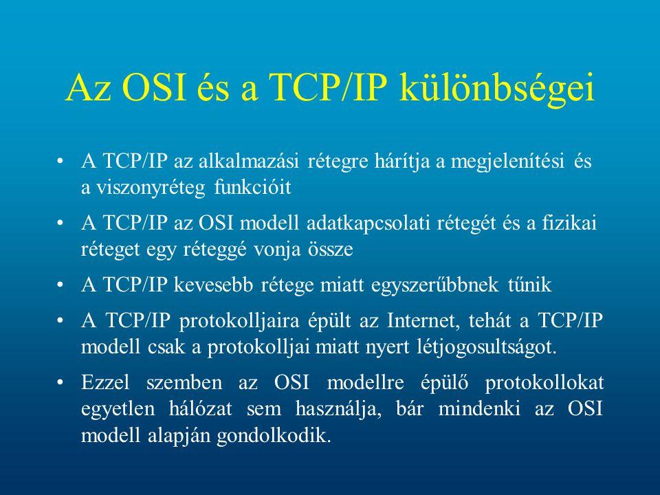 Az OSI és a TCP/IP különbségei A TCP/IP az alkalmazási rétegre hárítja a megjelenítési és a viszonyréteg funkcióit A TCP/IP az OSI modell adatkapcsola