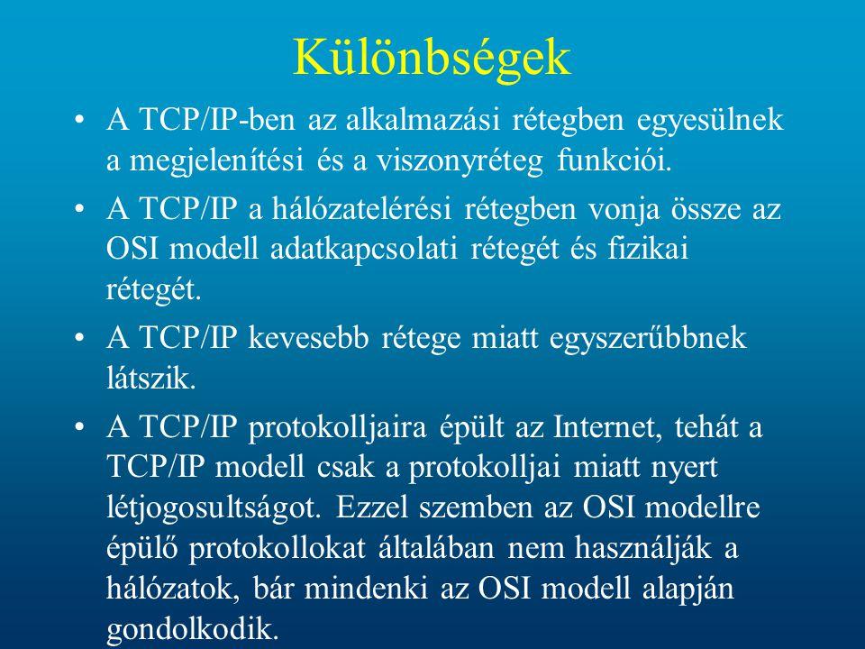 Különbségek A TCP/IP-ben az alkalmazási rétegben egyesülnek a megjelenítési és a viszonyréteg funkciói. A TCP/IP a hálózatelérési rétegben vonja össze