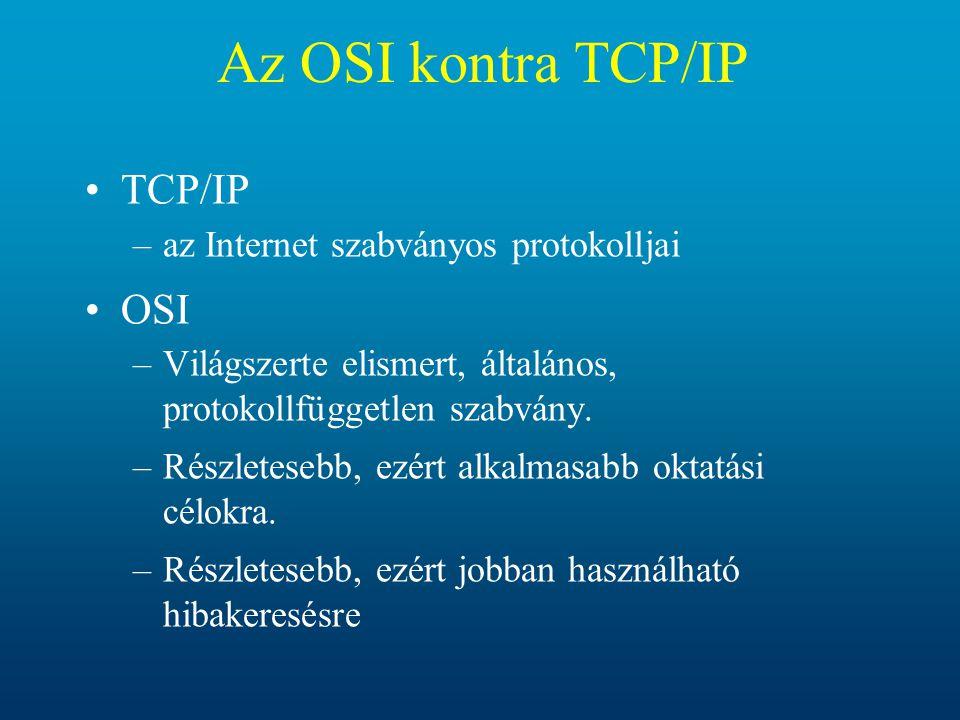 Az OSI kontra TCP/IP TCP/IP –az Internet szabványos protokolljai OSI –Világszerte elismert, általános, protokollfüggetlen szabvány. –Részletesebb, ezé