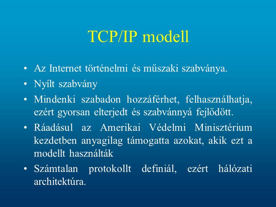 TCP/IP modell Az Internet történelmi és műszaki szabványa. Nyílt szabvány Mindenki szabadon hozzáférhet, felhasználhatja, ezért gyorsan elterjedt és s