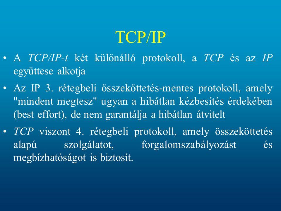 TCP/IP A TCP/IP-t két különálló protokoll, a TCP és az IP együttese alkotja Az IP 3. rétegbeli összeköttetés-mentes protokoll, amely