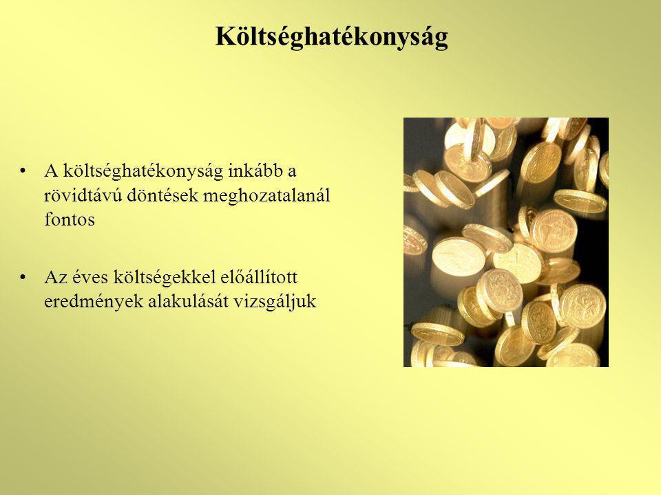 Költséghatékonyság -R h = H/R -R h = TÉ/R -R h = J/R -K h = H/TK x 100 -K h = TÉ/TK x 100 -K h = J/TK x 100 (jövedelmezőségi ráta) -K h = J/H (termékegység jövedelme) -K h = J/TÉ x 100 (termelési érték arányos jövedelmezőség) Ráfordításhatékonyság Költséghatékonyság