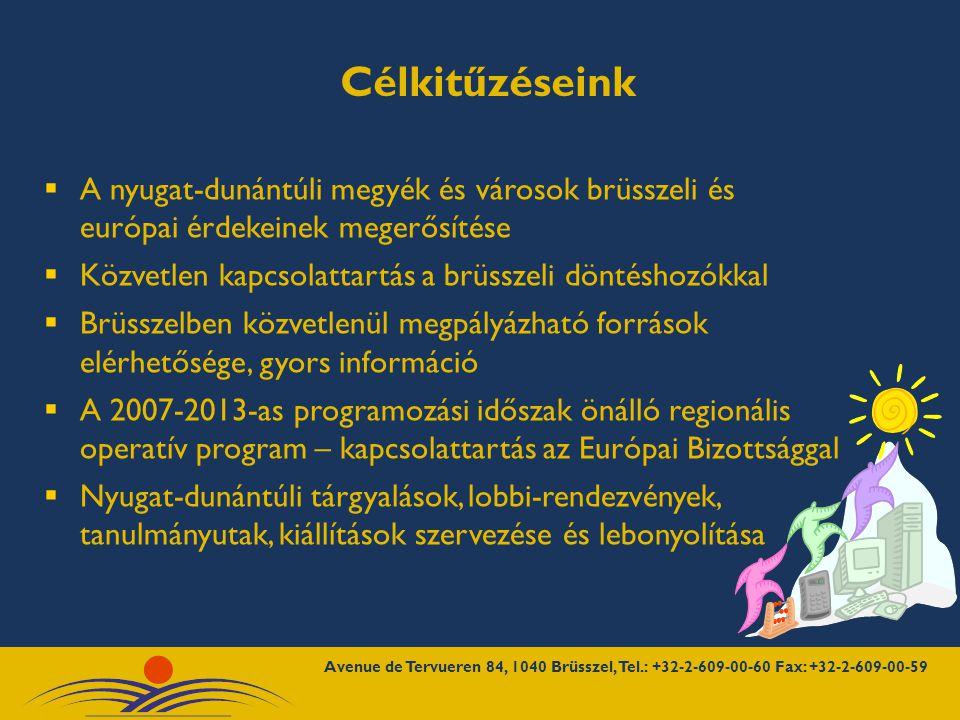  Régiós alapító partnerek  Európai Parlament, Európai Bizottság, Régiók Bizottsága, Gazdasági és Szociális Bizottság  Magyarország EU-hoz rendelt Állandó Képviselete, Magyarország Belgiumi Nagykövetsége  Magyarországi Régiók Brüsszeli Képviselete, Budapest Főváros Képviselete, más európai régiók brüsszeli képviseletei  ITDH, Magyar Turizmus Rt., GYOSZ, MKIK MFB, Vágóállat- és baromfitanács, szakmai lobbi szervezetek Együttműködésben dolgozunk
