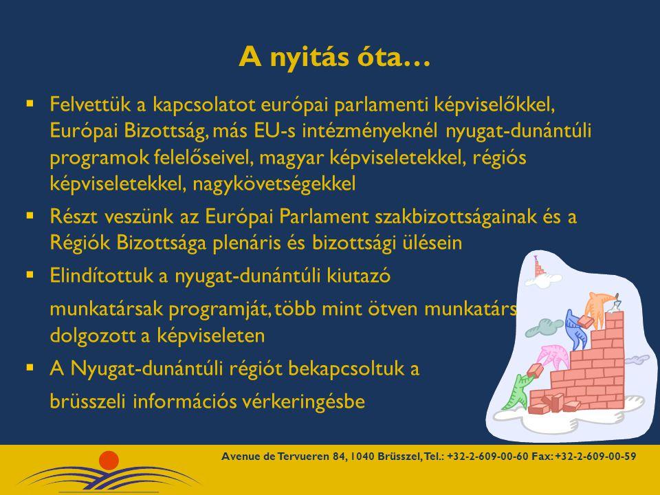 Pályázatokat figyeltünk, információs napokon vettünk részt  Elindítottuk és naponta frissítjük a www.westpa.hu honlapon a Brüsszeli iroda híreit: szakmai beszámolók, pályázati partnerkereső, hírlevelek, rendezvények, napi EP hírekwww.westpa.hu  Brüsszeli képviseleti közötti hálózati együttműködésekben vettünk részt a régióbeli szakemberek bekapcsolásával (EPRO, RIBN, NIROC, LMP, NEEBOR, V4, új: GMO mentes régiók)  Rendezvényeket, kiállításokat, tanulmányutakat szerveztünk, tárgyalódelegációkat fogadunk  OPEN DAYS – NYÍLT NAPOK 2007, nyugat-dunántúli borok bemutatkozója I.