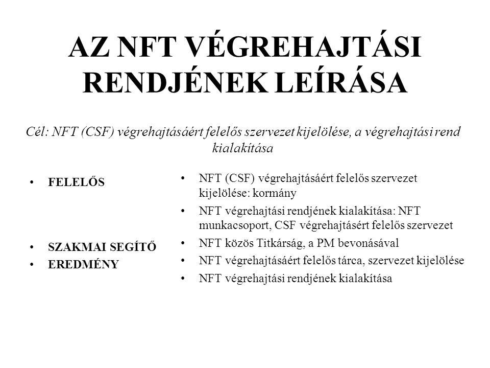 FELELŐS SZAKMAI SEGÍTŐ EREDMÉNY NFT (CSF) végrehajtásáért felelős szervezet kijelölése: kormány NFT végrehajtási rendjének kialakítása: NFT munkacsopo