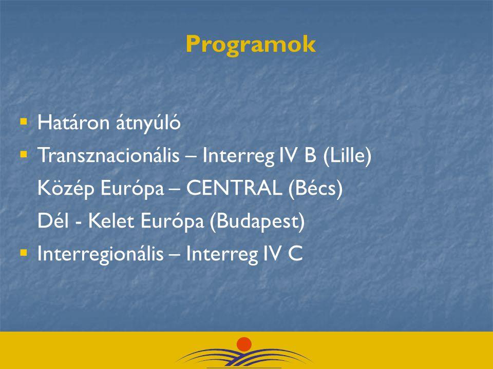  Határon átnyúló  Transznacionális – Interreg IV B (Lille) Közép Európa – CENTRAL (Bécs) Dél - Kelet Európa (Budapest)  Interregionális – Interreg IV C Programok
