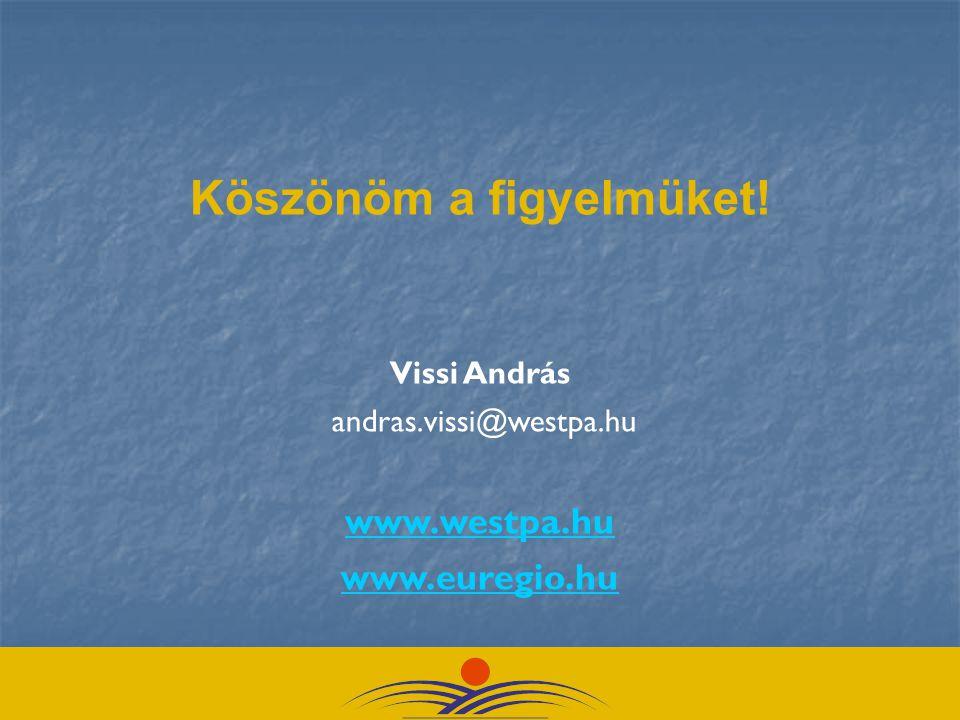 Köszönöm a figyelmüket! Vissi András andras.vissi@westpa.hu www.westpa.hu www.euregio.hu