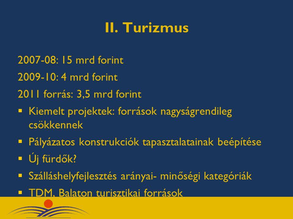 II. Turizmus 2007-08: 15 mrd forint 2009-10: 4 mrd forint 2011 forrás: 3,5 mrd forint  Kiemelt projektek: források nagyságrendileg csökkennek  Pályá