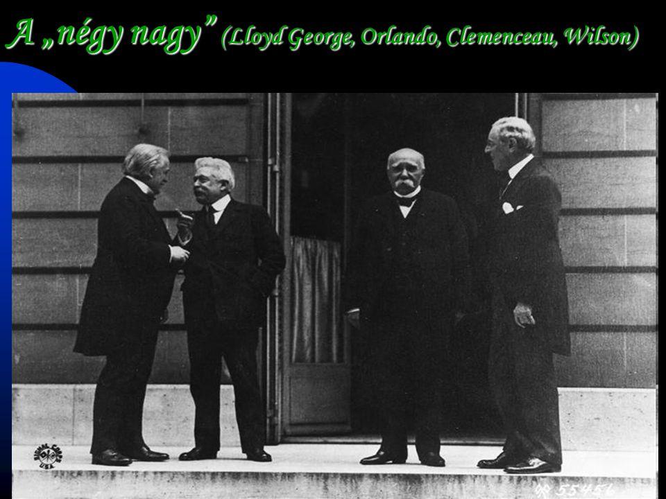 """A """"négy nagy"""" (Lloyd George, Orlando, Clemenceau, Wilson)"""