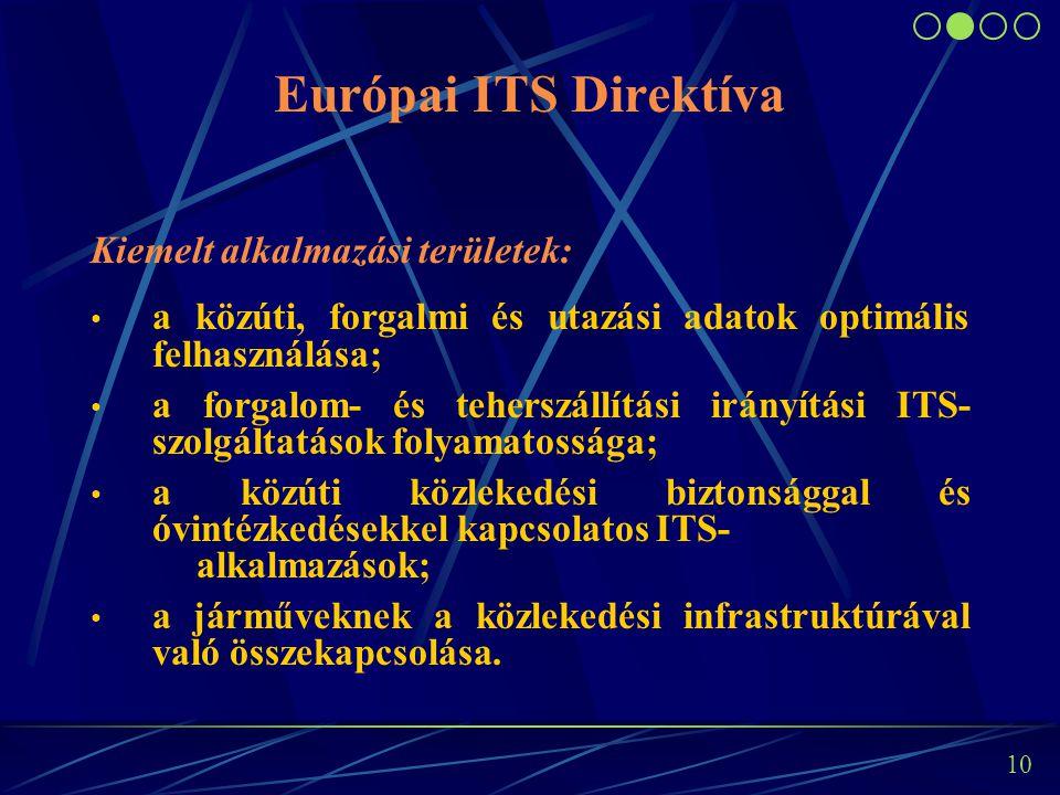 9 Európai ITS Direktíva Jellemzői: Az európai ITS alkalmazások keretét adja meg a következő évekre vonatkozóan. Az ITS alkalmazásokat specifikálja, pr