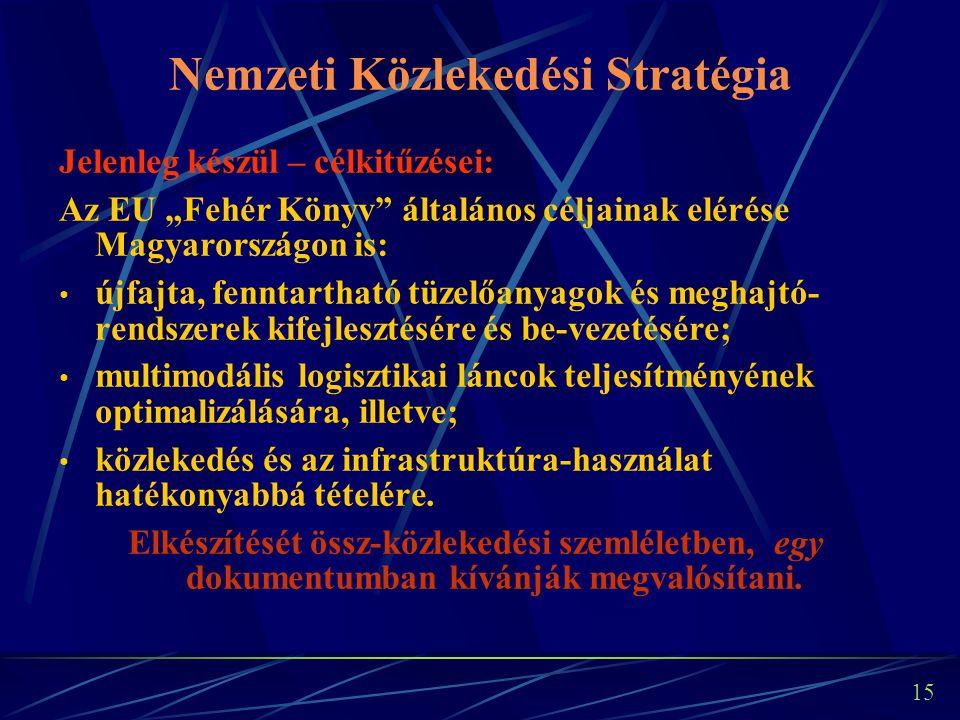 14 Egységes közlekedésfejlesztési stratégia 2007-2010 A horizontális hatásoknak nevezett, általánosan érvényesítendő célok kiemelése: közlekedésbiztonság javítása, környezetterhelés csökkentése, a közlekedés energiahatékonyságának javítása, a korszerű IT megoldások alkalmazása.
