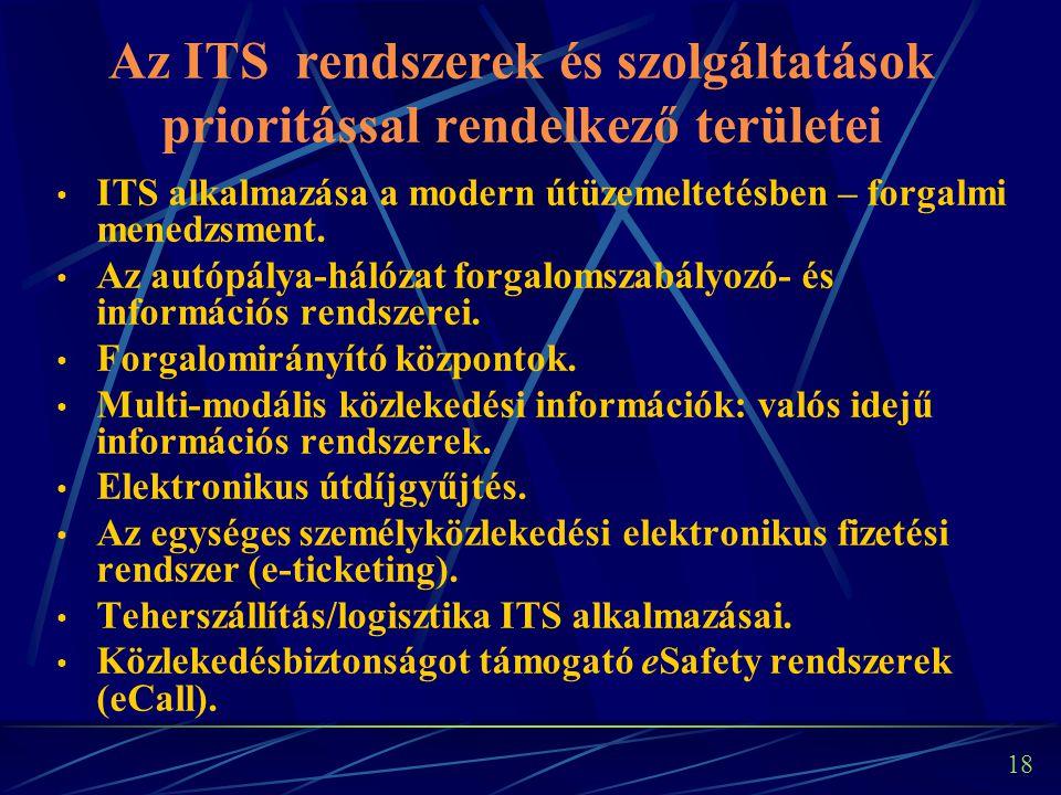 17 Hazai ITS stratégia szükségessége Az ITS rendszerek/szolgáltatások fejlesztési irányainak, prioritásainak rögzítése/megfogalmazása szükséges a közlekedés-politikai célok eléréséhez.