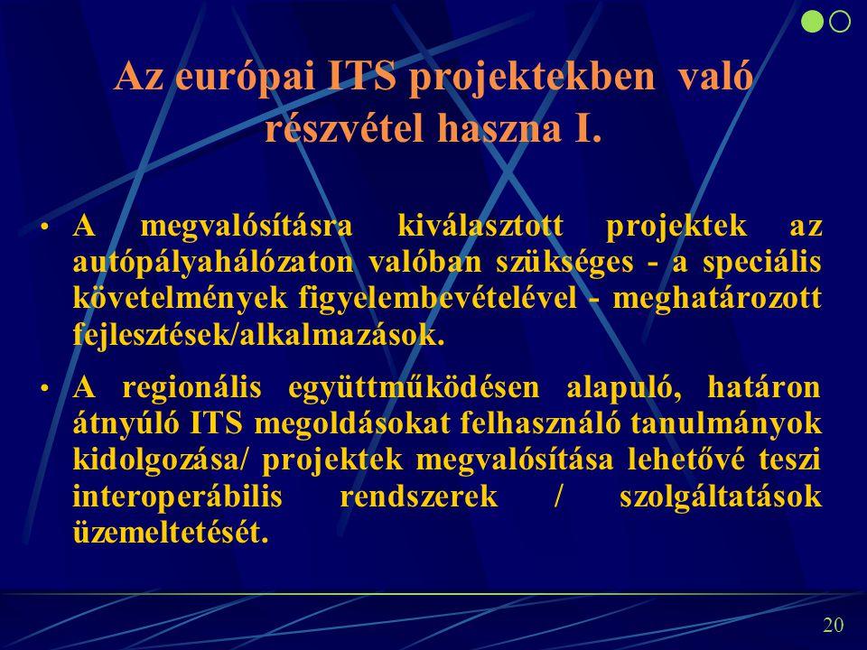 19 MIP I: TEMPO projektek Célkitűzés: az ITS rendszerek harmonizált alkalmazása a TERN hálózaton, ill.
