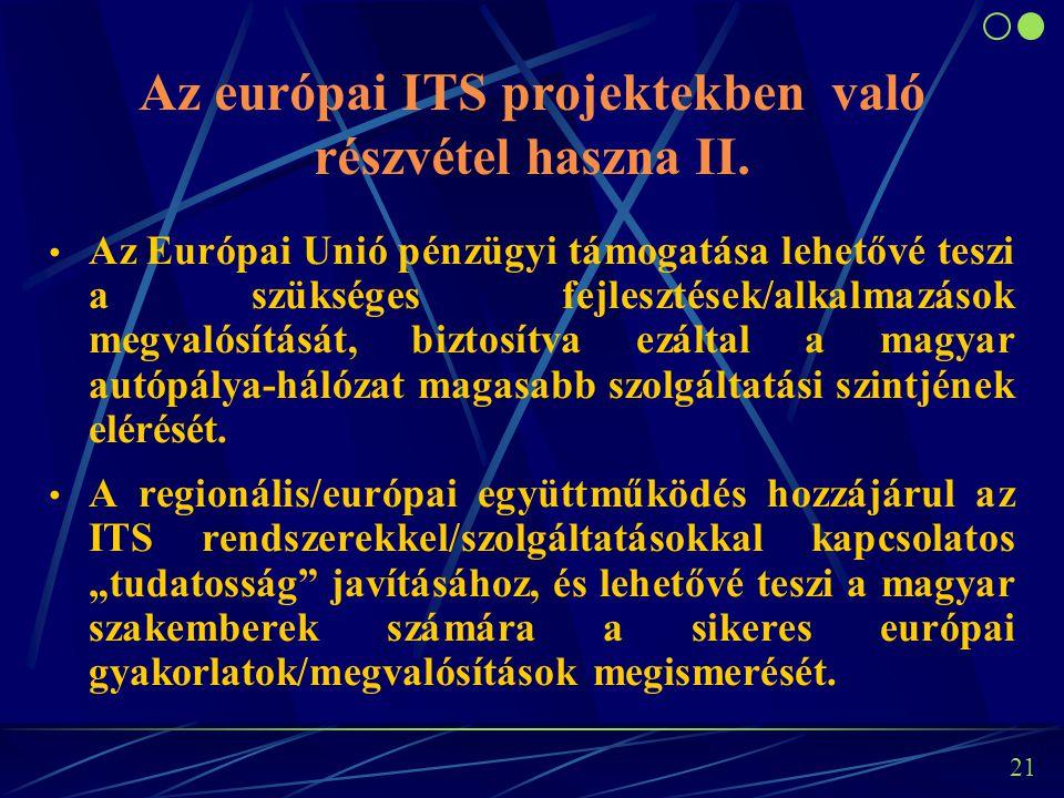 20 Az európai ITS projektekben való részvétel haszna I. A megvalósításra kiválasztott projektek az autópályahálózaton valóban szükséges - a speciális