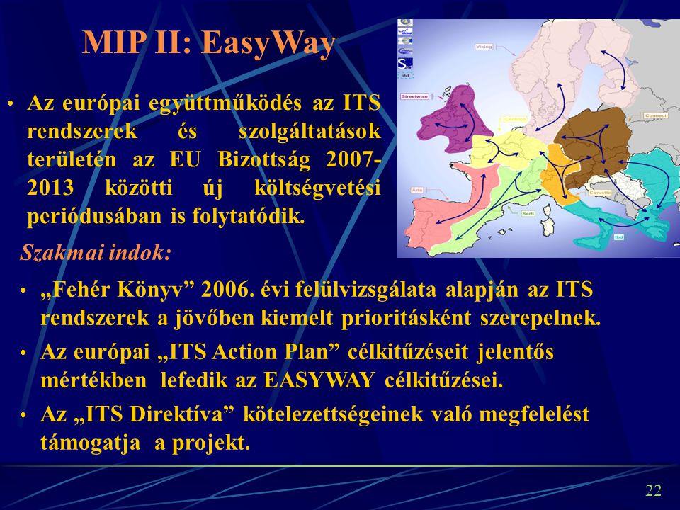 21 Az Európai Unió pénzügyi támogatása lehetővé teszi a szükséges fejlesztések/alkalmazások megvalósítását, biztosítva ezáltal a magyar autópálya-hálózat magasabb szolgáltatási szintjének elérését.