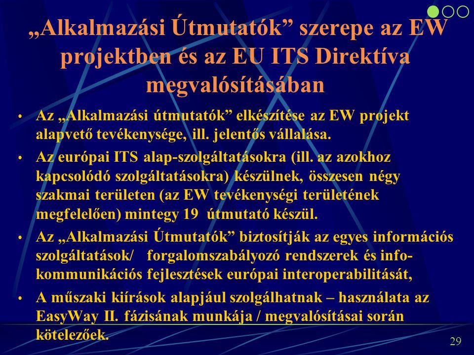 28 A cél az EasyWay I. keretében megkezdett munkák folytatása, ill. az elmaradt projektek pótlása. Forgalomszabályozó- és információs rendszerek továb