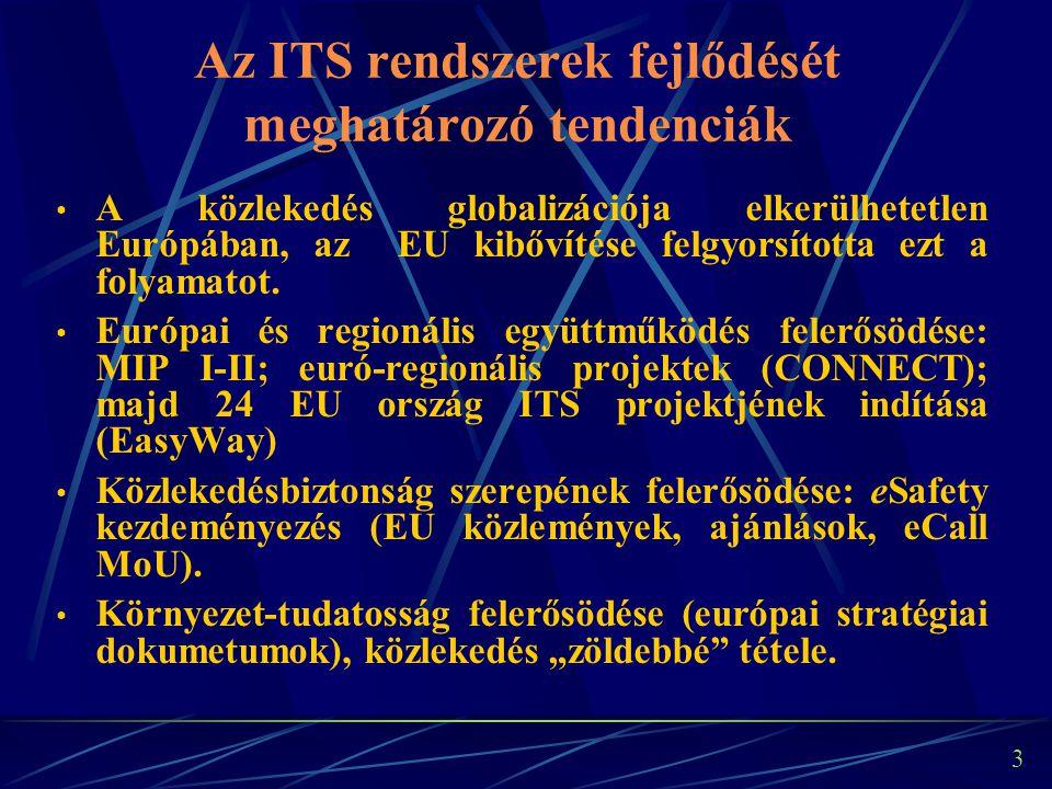 """2 Az ITS fogalma """" Intelligens közlekedési rendszerek (ITS) : olyan rendszerek, amelyekben információs és kommunikációs technológiákat alkalmaznak a közúti közlekedés területén, beleértve az infrastruktúrát, a járműveket és a felhasználókat is, a forgalomirányításban és a mobilitás kezelésében, valamint a más közlekedési módokhoz való kapcsolódási pontok vonatkozásában; (Az ITS Direktíva alapján)"""