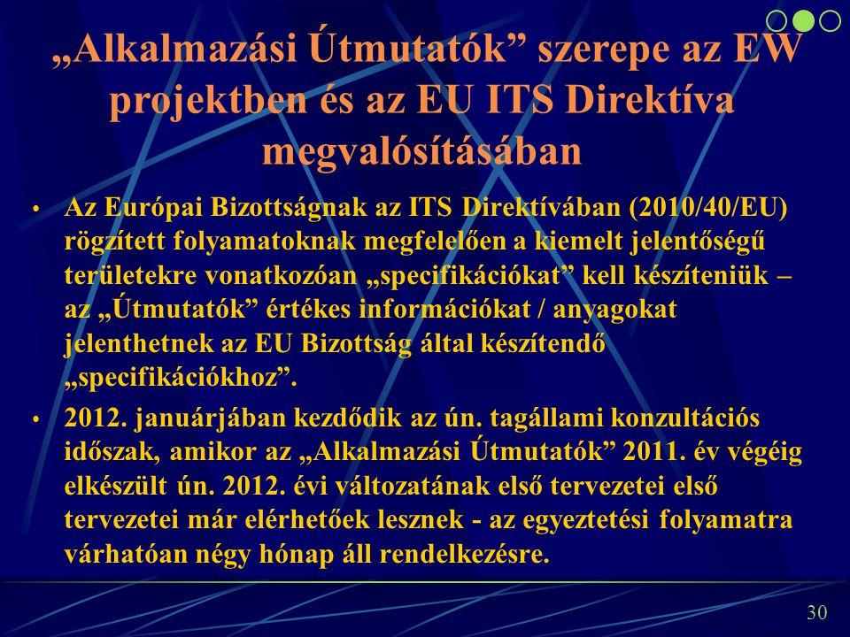 """29 """"Alkalmazási Útmutatók"""" szerepe az EW projektben és az EU ITS Direktíva megvalósításában Az """"Alkalmazási útmutatók"""" elkészítése az EW projekt alapv"""