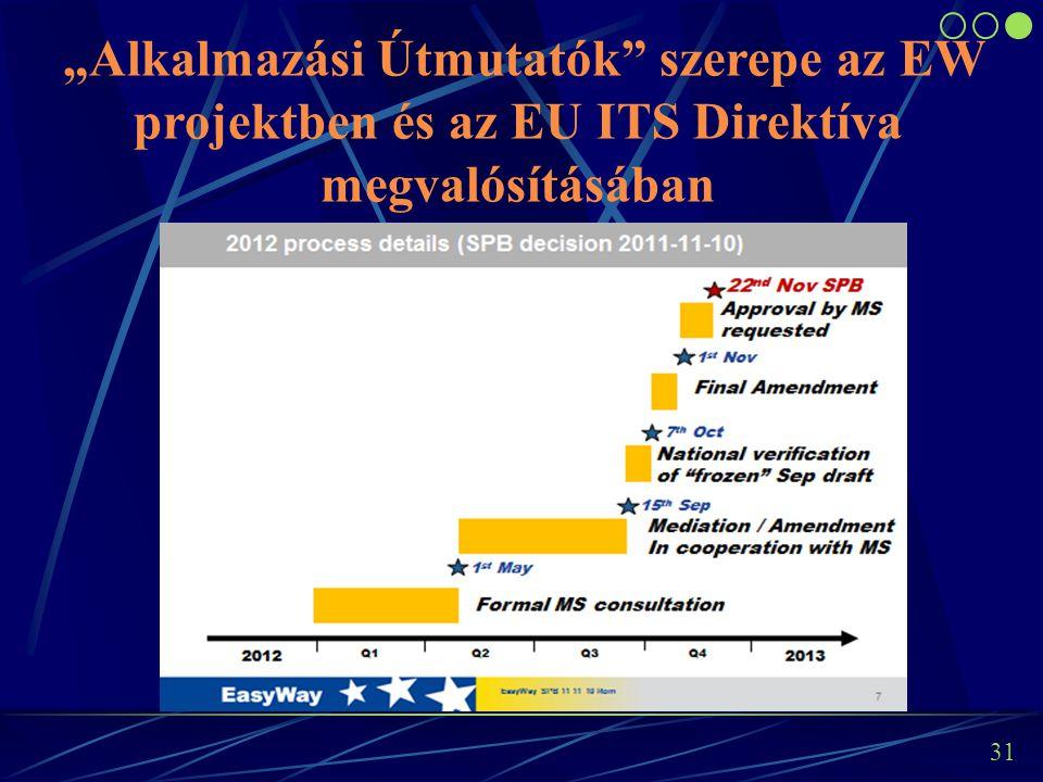 """30 Az Európai Bizottságnak az ITS Direktívában (2010/40/EU) rögzített folyamatoknak megfelelően a kiemelt jelentőségű területekre vonatkozóan """"specifi"""