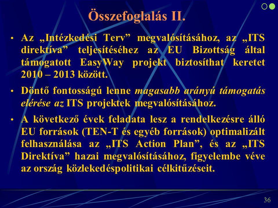 """35 Összefoglalás I. Az EU Bizottság """"Intézkedési Terve"""" szerint az ITS megoldások egyértelmű előnyökkel és hozzáadott értékekkel rendelkeznek a közlek"""