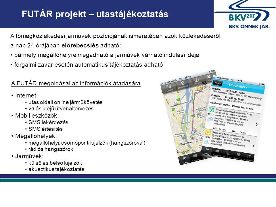 FUTÁR projekt – utastájékoztatás Internet: utas oldali online járműkövetés valós idejű útvonaltervezés Mobil eszközök: SMS lekérdezés SMS értesítés Megállóhelyek: megállóhelyi, csomóponti kijelzők (hangszóróval) rádiós hangszórók Járművek: külső és belső kijelzők akusztikus tájékoztatás A tömegközlekedési járművek pozíciójának ismeretében azok közlekedéséről a nap 24 órájában előrebecslés adható: bármely megállóhelyre megadható a járművek várható indulási ideje forgalmi zavar esetén automatikus tájékoztatás adható A FUTÁR megoldásai az információk átadására