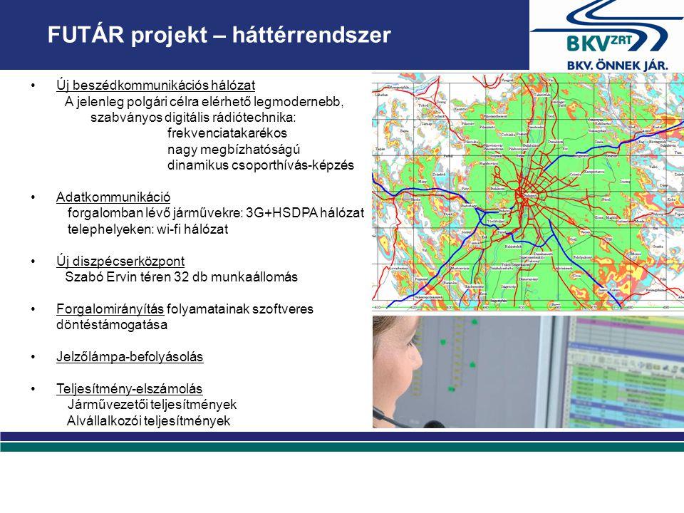 FUTÁR projekt – háttérrendszer Új beszédkommunikációs hálózat A jelenleg polgári célra elérhető legmodernebb, szabványos digitális rádiótechnika: frekvenciatakarékos nagy megbízhatóságú dinamikus csoporthívás-képzés Adatkommunikáció forgalomban lévő járművekre: 3G+HSDPA hálózat telephelyeken: wi-fi hálózat Új diszpécserközpont Szabó Ervin téren 32 db munkaállomás Forgalomirányítás folyamatainak szoftveres döntéstámogatása Jelzőlámpa-befolyásolás Teljesítmény-elszámolás Járművezetői teljesítmények Alvállalkozói teljesítmények