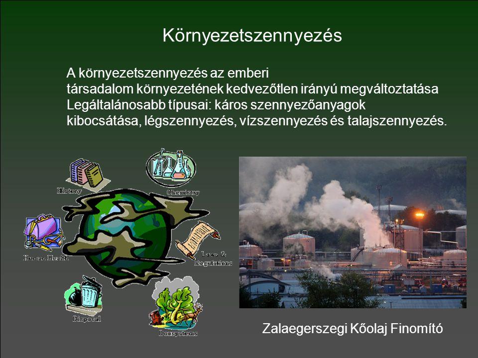 A környezetszennyezés az emberi társadalom környezetének kedvezőtlen irányú megváltoztatása Legáltalánosabb típusai: káros szennyezőanyagok kibocsátása, légszennyezés, vízszennyezés és talajszennyezés.