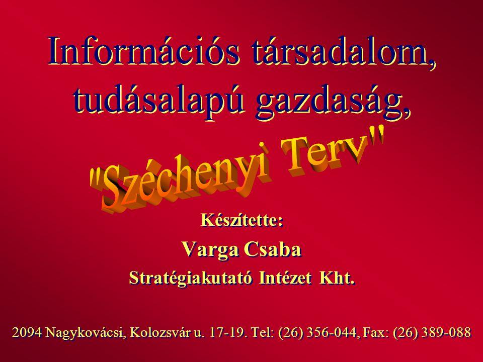 Információs társadalom, tudásalapú gazdaság, Készítette: Varga Csaba Stratégiakutató Intézet Kht. 2094 Nagykovácsi, Kolozsvár u. 17-19. Tel: (26) 356-
