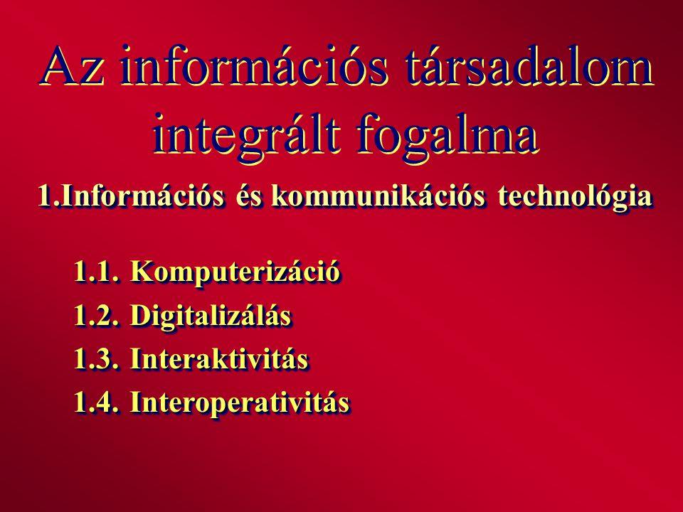 Az információs társadalom integrált fogalma 1.Információs és kommunikációs technológia 1.1.Komputerizáció 1.2.Digitalizálás 1.3.Interaktivitás 1.4.Int