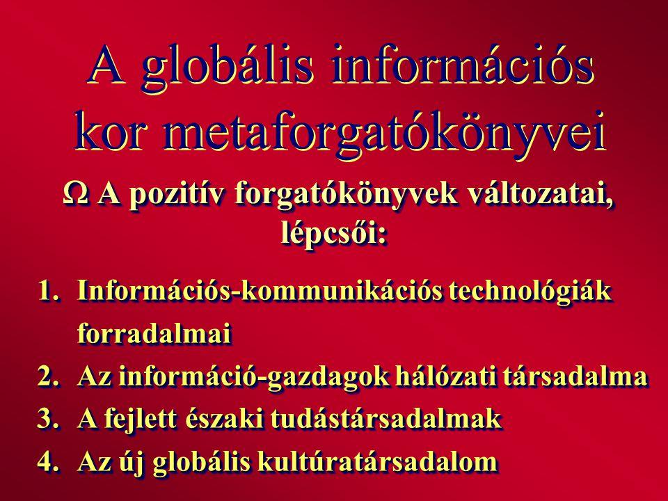 A globális információs kor metaforgatókönyvei  A pozitív forgatókönyvek változatai, lépcsői: 1.Információs-kommunikációs technológiák forradalmai 2.A