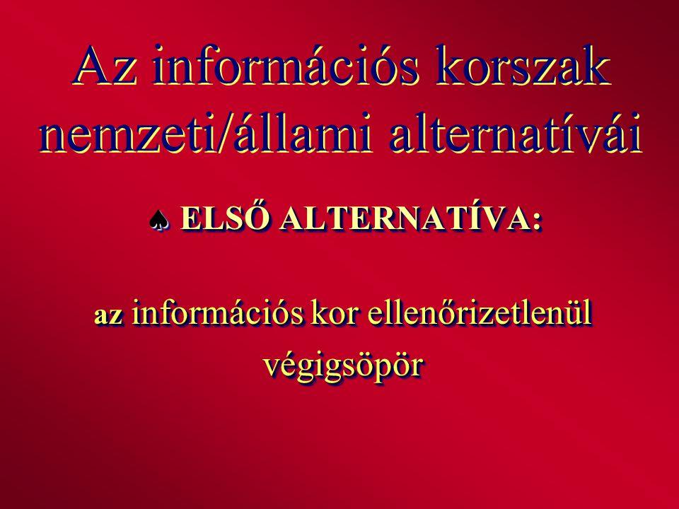 Az információs korszak nemzeti/állami alternatívái  ELSŐ ALTERNATÍVA: az információs kor ellenőrizetlenül végigsöpör