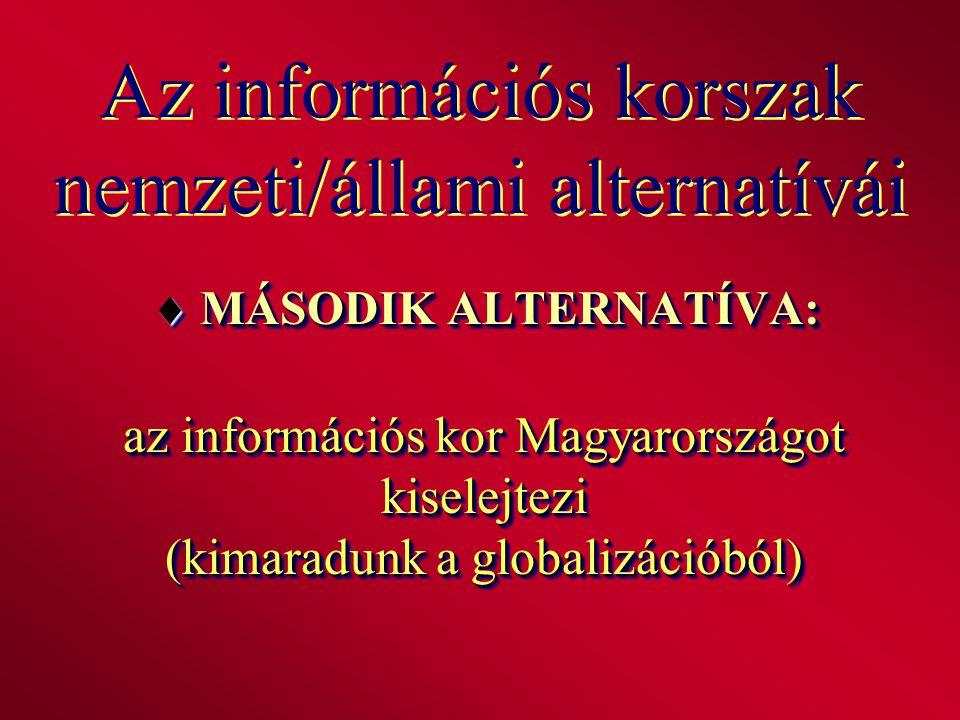 Az információs korszak nemzeti/állami alternatívái  MÁSODIK ALTERNATÍVA: az információs kor Magyarországot kiselejtezi (kimaradunk a globalizációból)