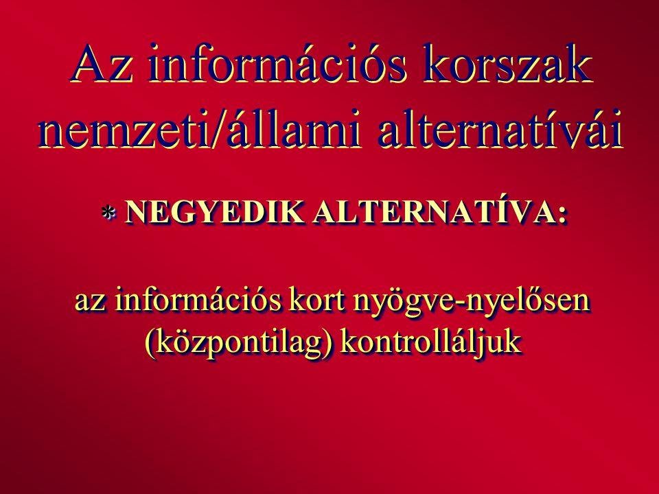 Az információs korszak nemzeti/állami alternatívái  NEGYEDIK ALTERNATÍVA: az információs kort nyögve-nyelősen (központilag) kontrolláljuk