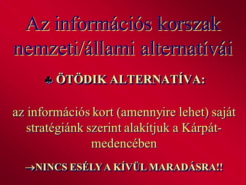 Az információs korszak nemzeti/állami alternatívái  ÖTÖDIK ALTERNATÍVA: az információs kort (amennyire lehet) saját stratégiánk szerint alakítjuk a K