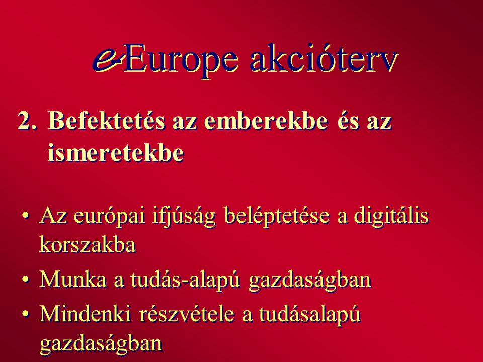 2.Befektetés az emberekbe és az ismeretekbe Az európai ifjúság beléptetése a digitális korszakba Munka a tudás-alapú gazdaságban Mindenki részvétele a