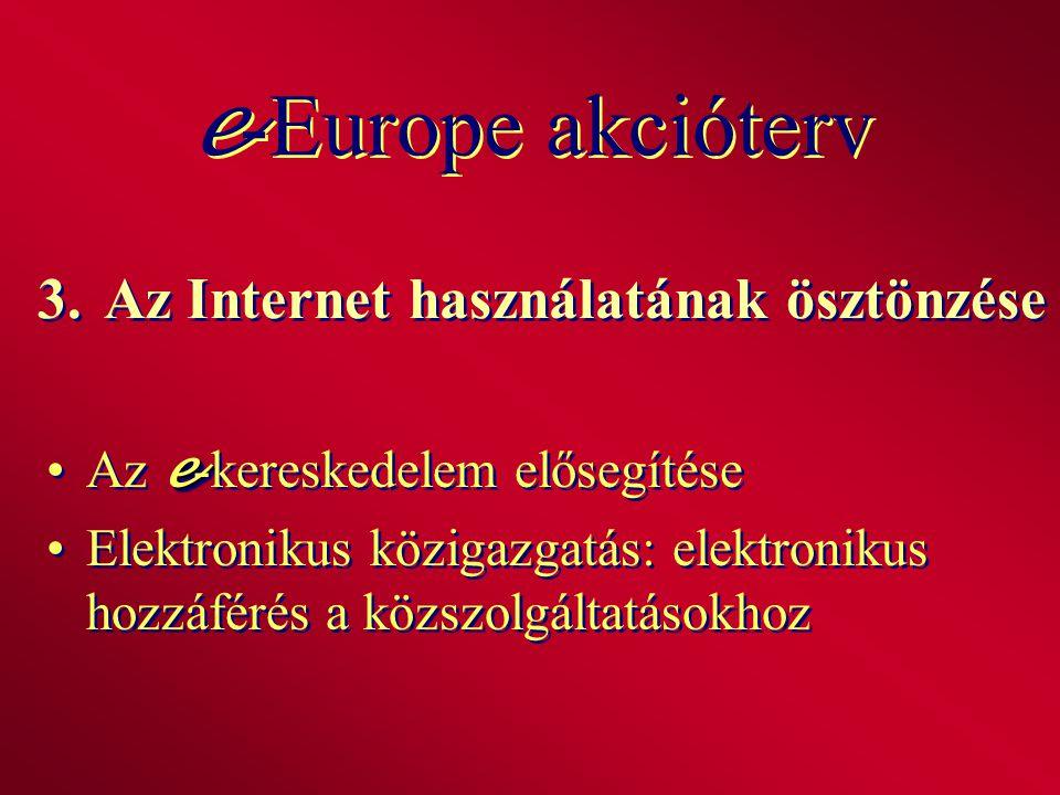 3.Az Internet használatának ösztönzése eAz e -kereskedelem elősegítése Elektronikus közigazgatás: elektronikus hozzáférés a közszolgáltatásokhoz eAz e