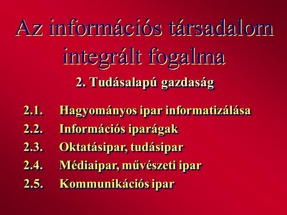 Az információs társadalom integrált fogalma 2. Tudásalapú gazdaság 2.1.Hagyományos ipar informatizálása 2.2.Információs iparágak 2.3.Oktatásipar, tudá